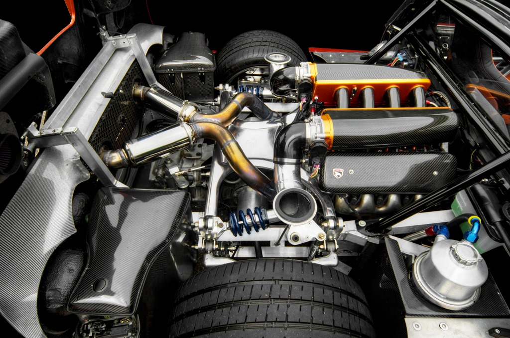 An LS7 427ci with Lingenfelter performance components and a custom carbon-fiber intake manifold ... the Falcon F7 engine is certainly not something you see every day.
