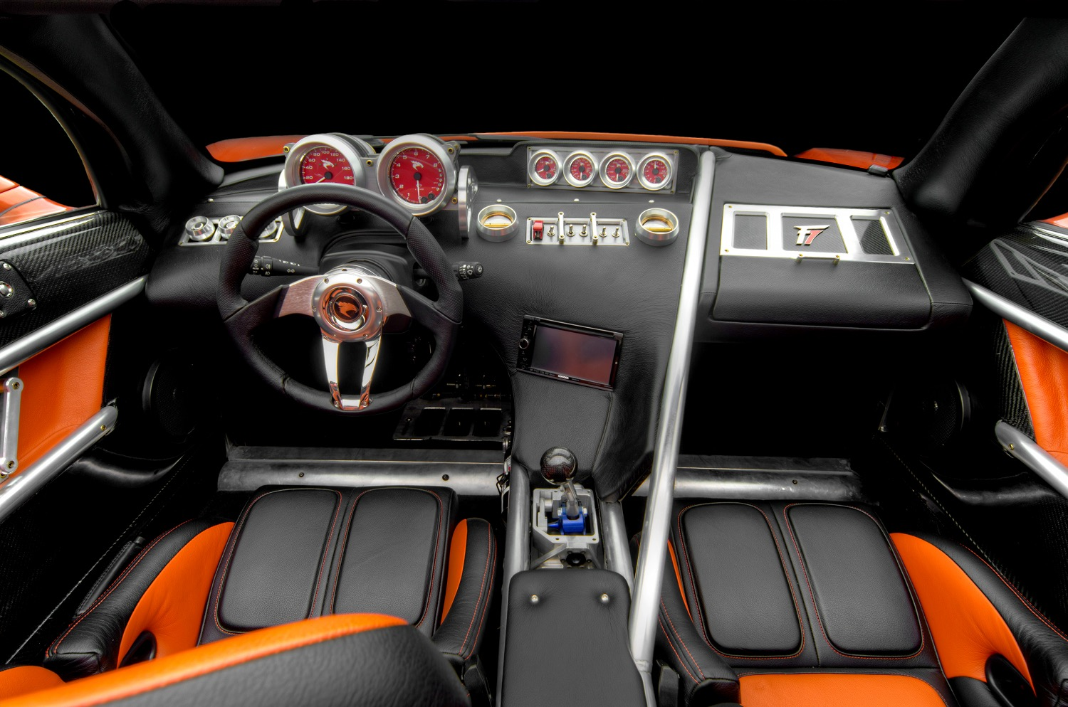"""The interior of the VIN #001 Falcon F7. """"It's an American exotic car,"""" says the owner."""