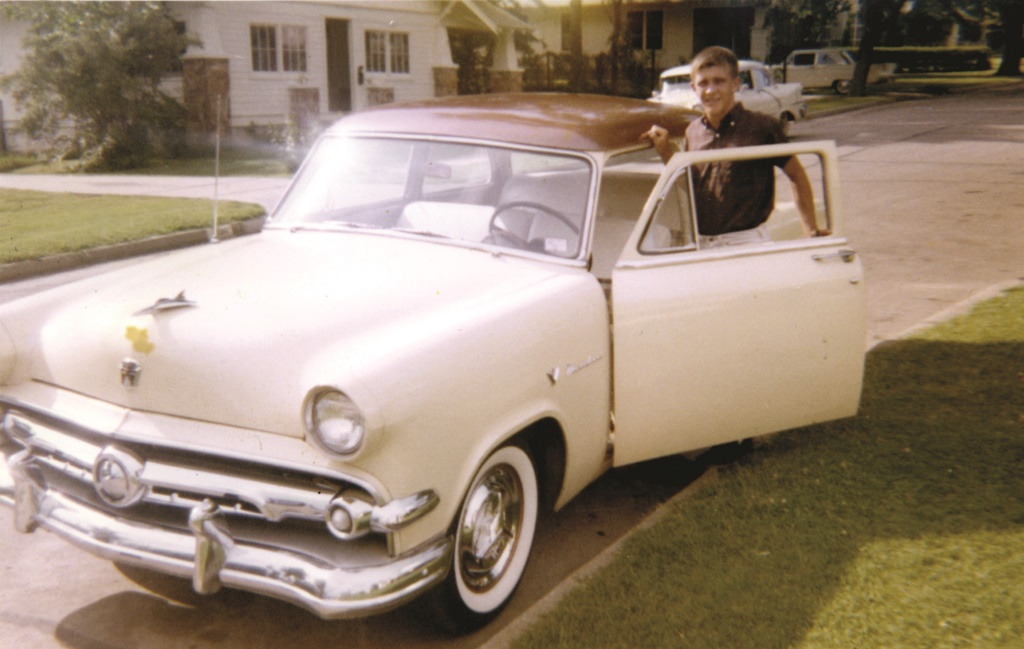 Gary Bennett at the age of 17 - with his first car, a 1954 Ford.