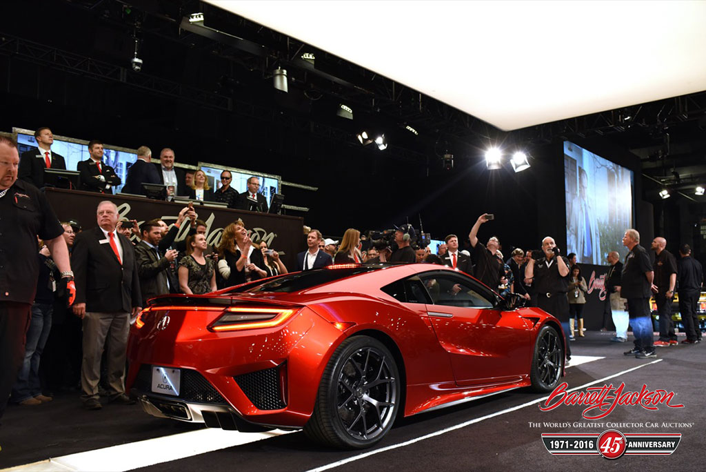 The much-anticipated VIN #001 2017 Acura NSX (Lot #3007) brought in $1.2 million from NASCAR team owner Rick Hendrick. 100 percent of the hammer price will benefit the Pediatric Brain Tumor Foundation and Camp Southern Ground.