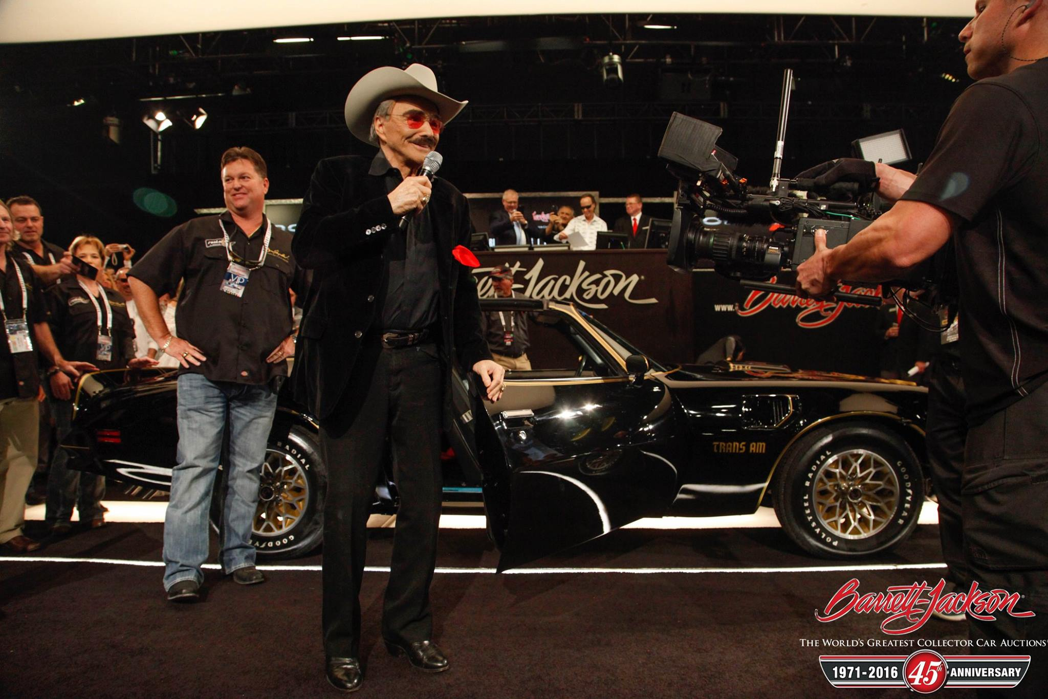 "Burt Reynolds, star of ""Smokey and the Bandit,"" rode onto the auction block in the famous 1977 Trans Am (Lot #7004), which sold for $550,000."