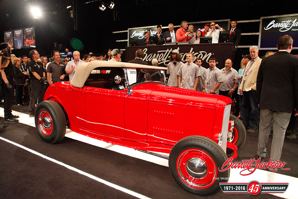 """Lot #3010 – 1932 Ford Hi-Boy """"McGee Tribute"""" - $105,000 to benefit the Alex Xydias Center for Automotive Arts."""