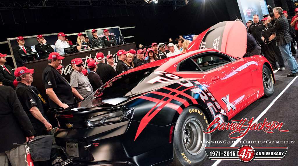 The Courtney Force-designed 2016 Chevrolet COPO Camaro VIN #001 hammered at $300,000, all to benefit the United Way.
