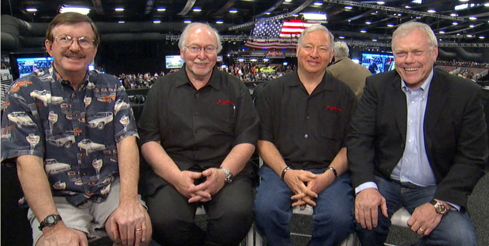 """Three members of Barrett-Jackson's team of Automotive Experts - Jerry MacNeish, Jim Mattison and Roy Sinor - with Barrett-Jackson CEO Craig Jackson. They and the rest of their team will join other professionals for the new """"Behind the Hobby"""" Collector Car Symposiums at the 2016 Scottsdale Auction."""