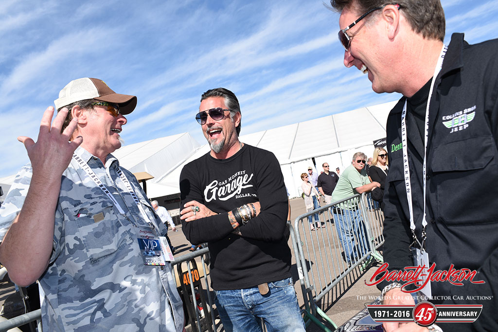 From left: Motor City Madman Ted Nugent with Richard Rawlings and Dennis Collins of Gas Monkey Garage.