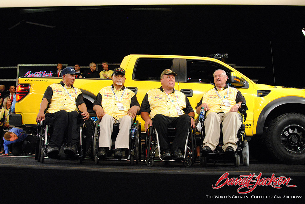 Lot #3000, a 2014 Ford Raptor Hennessey VelicoRaptor 600, brought in $100,000 for Paralyzed Veterans of America.