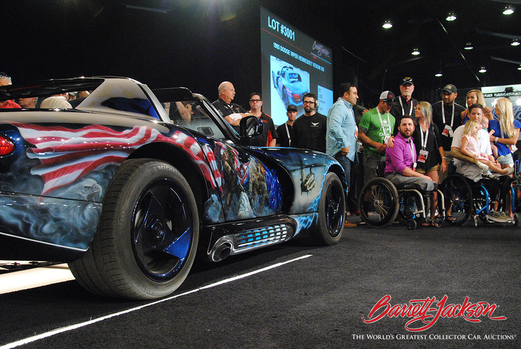 Lot #3001, a  Image Not Available Lot 3001 a 1993 DODGE VIPER HENNESSEY VENOM 500, sold for $150,000 for the Lone Survivor Foundation, founded by former U.S. Navy SEAL Marcus Luttrell.