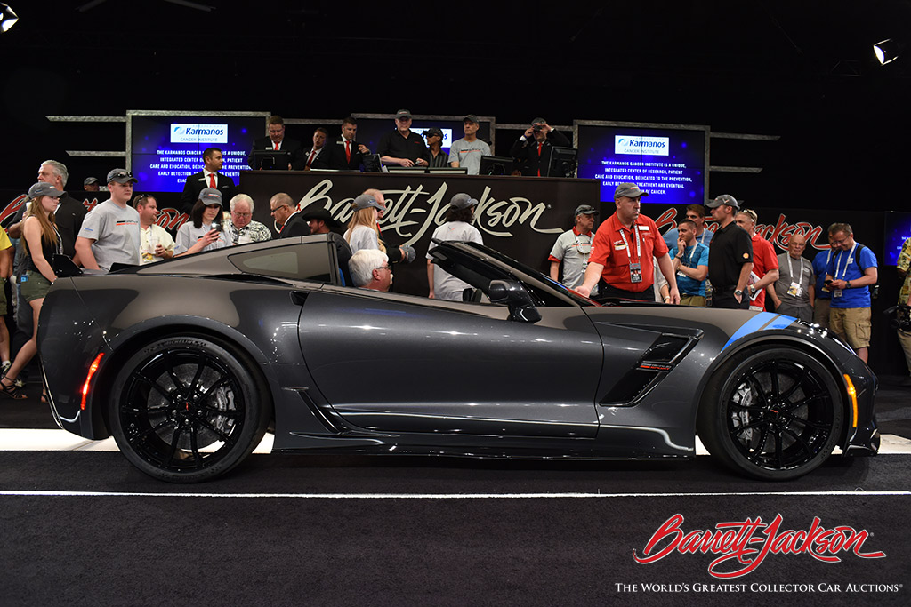 Lot #3003, a 2017 Chevrolet Corvette VIN #001 Grand Sport, brought the hammer down on a $170,000 bid for The Karmanos Cancer Institute.