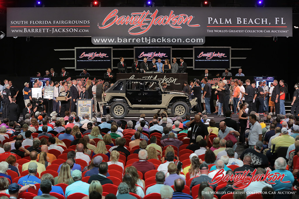 Lot #3002, a 2015 Jeep Wrangler Unlimited Commando Tactical Edition, sold for $225,000 to benefit the Patriot Foundation.