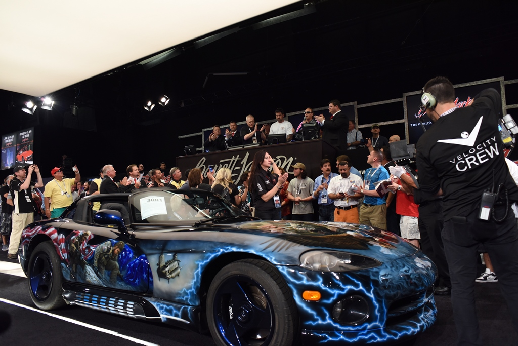 The sale of this 1993 Dodge Viper Hennessey Venom 500 (Lot #3001) raised $150,000 for the Lone Survivor Foundation.