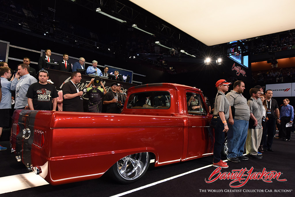 The sale of a 1966 Ford F-100 Custom Pickup (Lot #3004) raised $115,000 for the Hometown Foundation and Special Olympics.