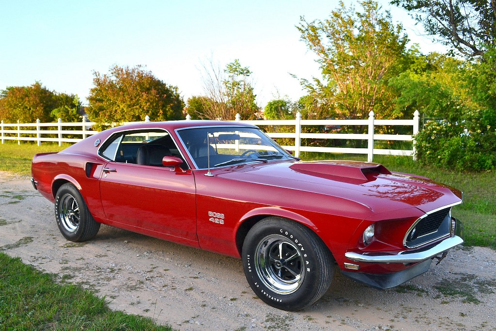 This 1969 Ford Mustang Boss 429 features a 429ci V8 early-production S-code NASCAR motor.