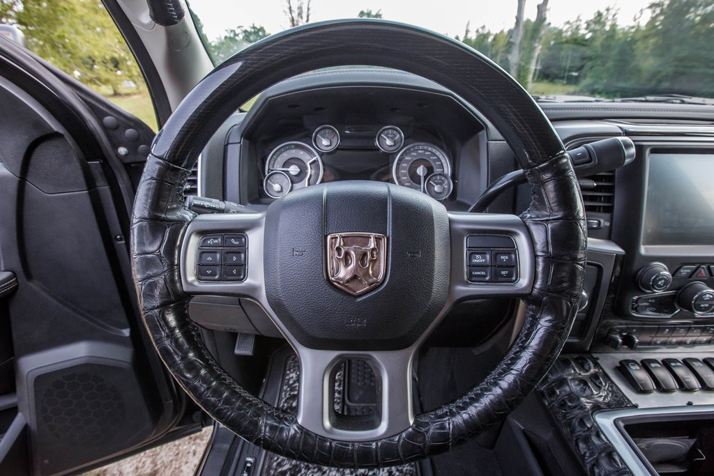 The interior of the 2015 Ram 2500 Commando (Lot #3004) features Mississippi Hornback alligator skin and Brazilian bovine hair-on-hide details.
