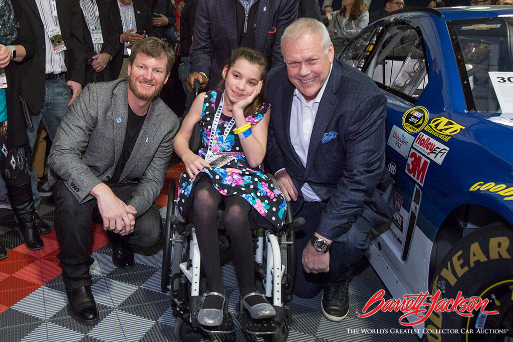 Dale Earnhardt Jr. and Craig Jackson with Maddie Delaney, the Nationwide Children's Hospital Patient Champion.