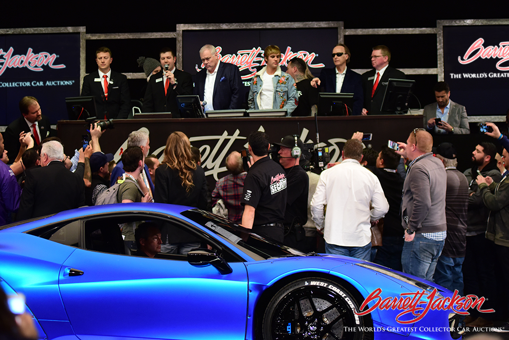 International pop star Justin Bieber came to the auction block with his 2011 Ferrari 458 Italia (Lot #1372), which sold for $434,500 - a new record at auction.