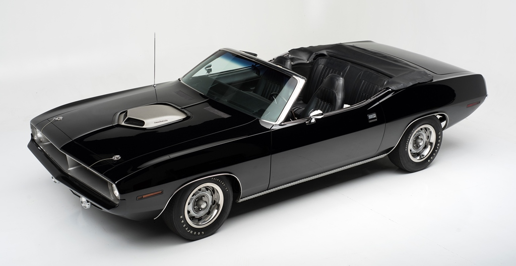 One of only 14 produced, this rare triple-black beauty will be crossing the Barrett-Jackson auction block as Lot #1392, a 1970 Plymouth HEMI 'Cuda.