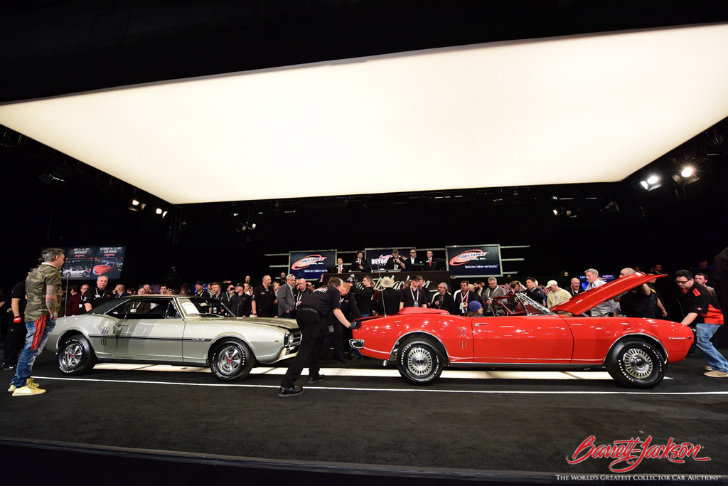 A pair of 1967 Pontiac Firebirds (Lots #1377 and #1377.1) restored by Gas Monkey Garage sold for $258,500.