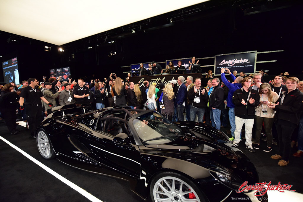 Another great Barrett-Jackson moment: Steven Tyler roared onto the stage in his 2012 Hennessey Venom GT Spyder (Lot #3003), which brought in $800,000 for the charity he helped found, Janie's Fund.