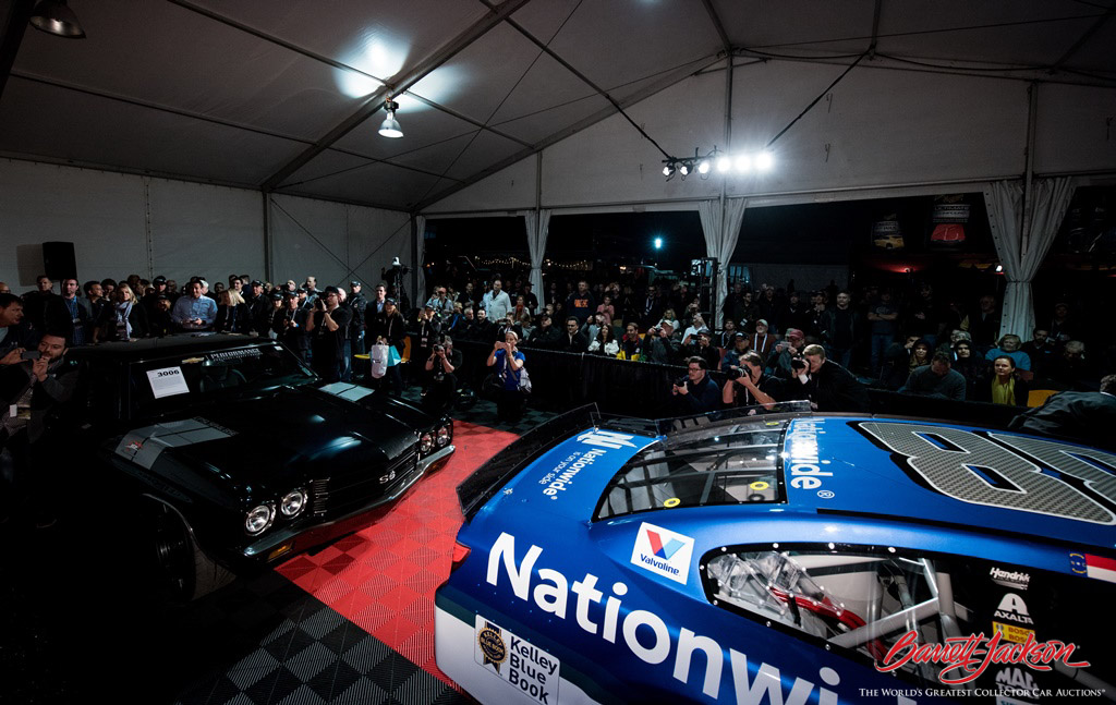 Dale Earnhardt Jr. accompanied the 1970 Chevrolet Chevelle (Lot #3006) he helped design and his #88 race car (Lot #3006.1) to the new Shell Pennzoil Pioneering Performance Stage right after they were auctioned for $400,000 to benefit Nationwide Children's Hospital.