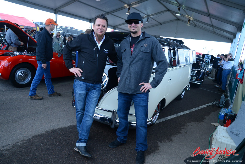 Dave Kindig and Kevin Schiele of Kindig-It Design in the staging lanes with their record-breaking 1965 Volkswagen Type II 21-Window Deluxe Bus (Lot #1315), which sold for $302,500.