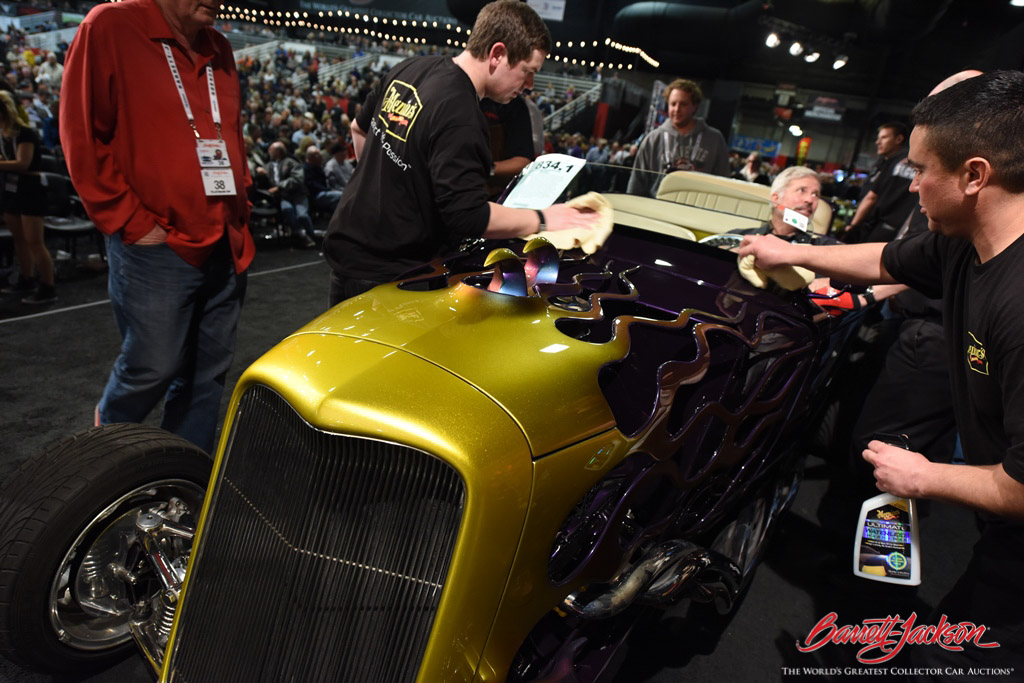 Polishing up a hot rod before it hits the stage.