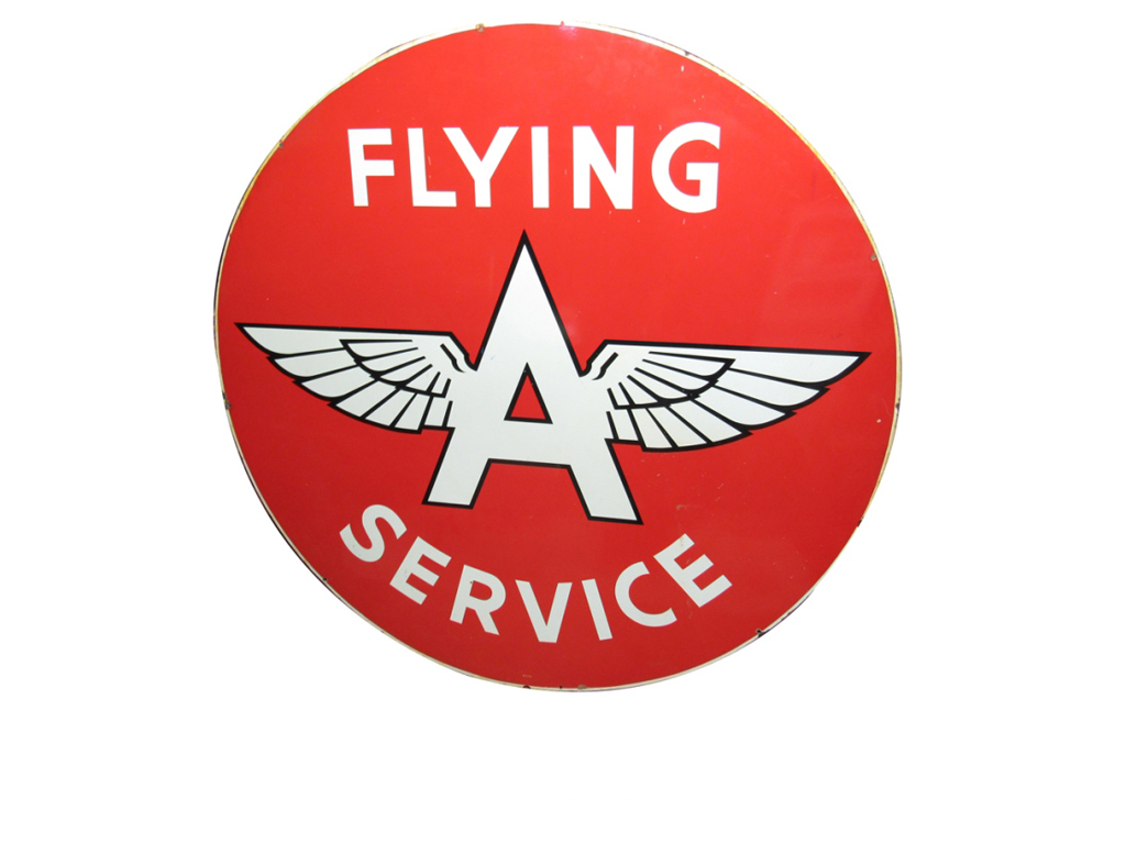 The 1956 Flying A Service double-sided porcelain gasoline station sign (Lot #5892) is sure to be an attention-grabber in your garage or man cave! A piece like this is seldom seen, especially in an excellent restored condition like this example.