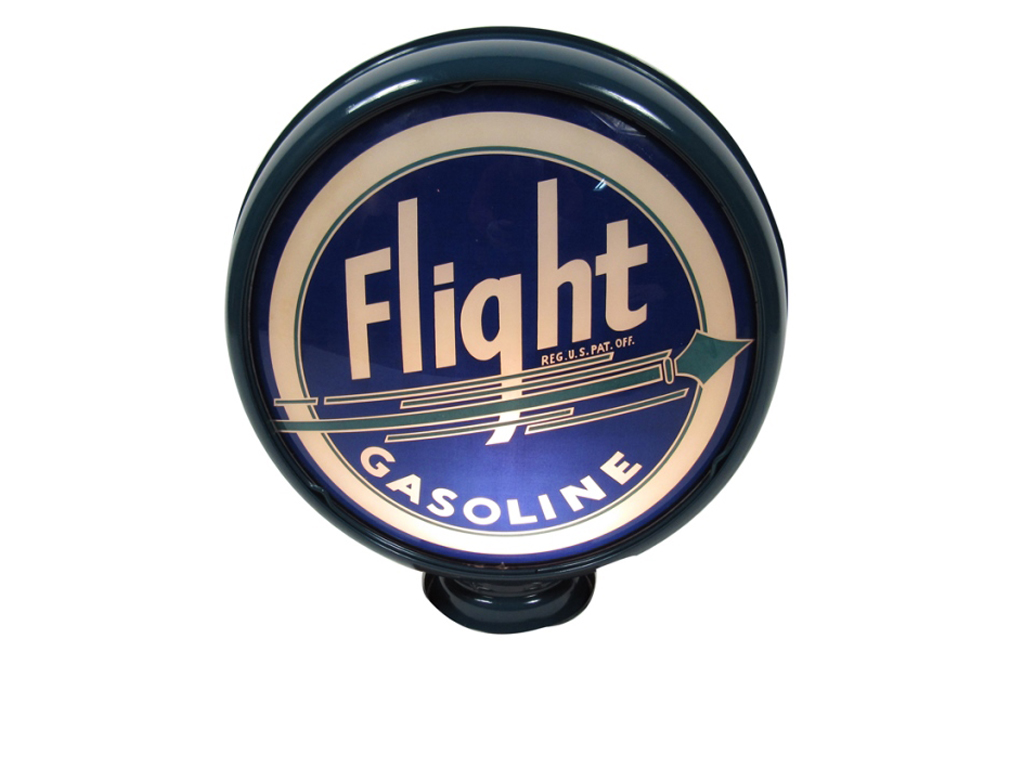 Gas pump globes like this metal-bodied 1930s Flight Gasoline example (Lot #5948) are the perfect way to light up a room or accent a collection.