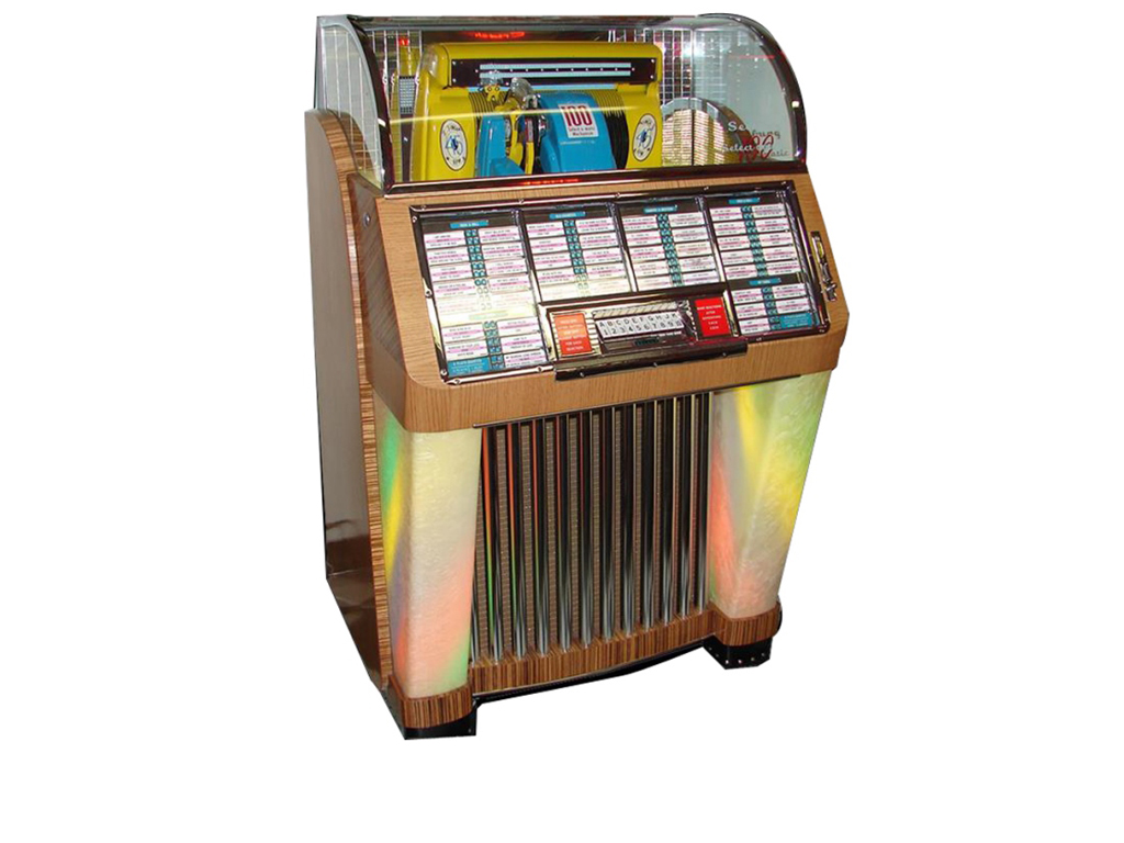 """The same model used on the hit TV series """"Happy Days,"""" this 1952 Seeburg Model """"C"""" 100 diner jukebox (Lot #5978) will take you back in time! Professionally restored to day-one condition."""