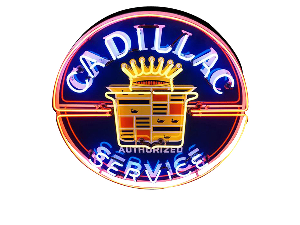 You knew you were heading for luxury and quality when you headed for this Cadillac Authorized Service neon dealership sign (Lot #5996) from the 1940s-50s. This magnificent restored example features the Cadillac crest logo.