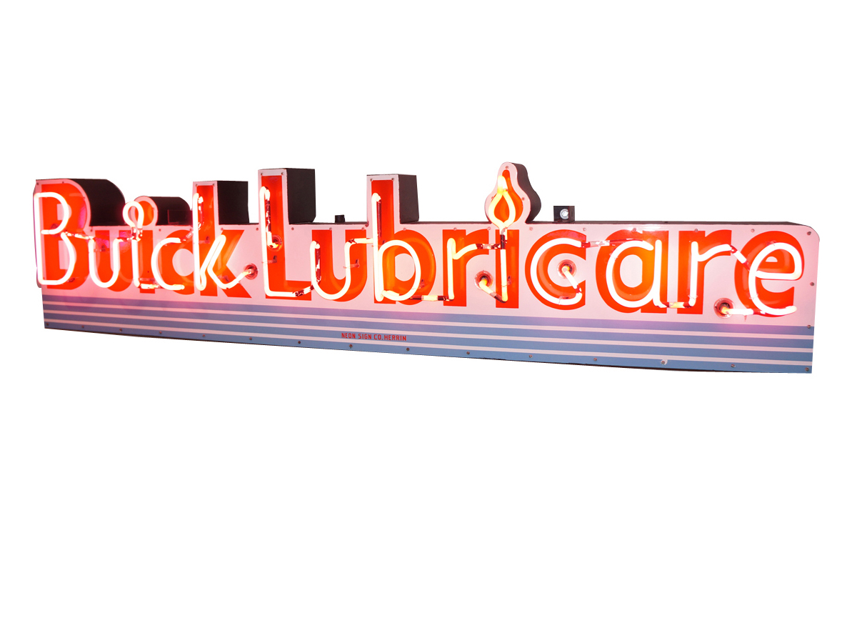This Buick Lubricare single-sided neon porcelain dealership sign (Lot #5998) from the 1940s-50s is one of the nicest Barrett-Jackson has ever offered.