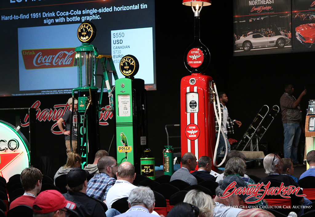 Lot #5986, a beautifully restored and customized 1926 Boyle-Dayton visible gas pump from McLaren Classic Restorations, was today's top seller during the Automobilia Auction, bringing in $46,000.