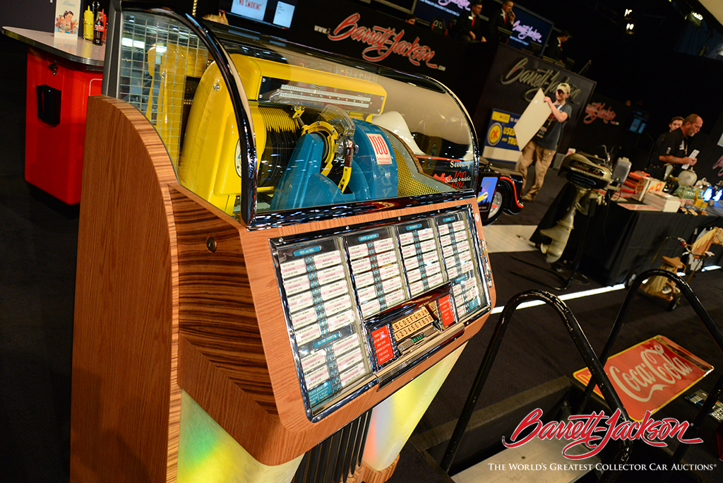 """Memories of Route 66 - a 1952 Seeburg Model """"C"""" 100 diner jukebox at today's Automobilia Auction."""