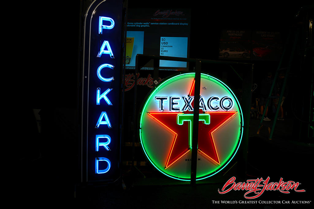Neon signs are always popular at the Automobilia Auction. A late-1950s restored Texaco Service Station sign was one of the auction's top automobilia sales.