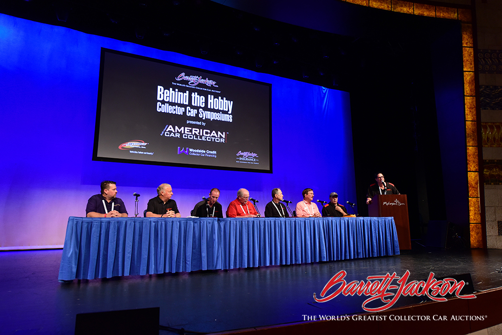 The Barrett-Jackson team of automotive experts onstage at one of this morning's symposiums.
