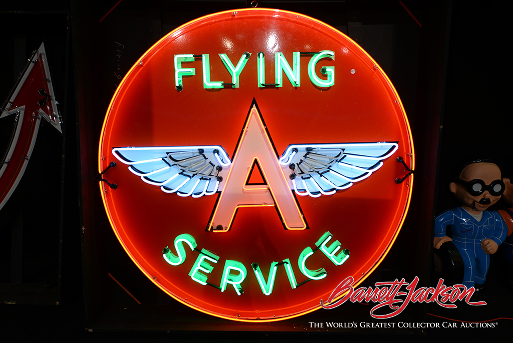 This 1950s Flying A Service sign (Lot #7398.2) was one of the day's top sellers at $13,800.