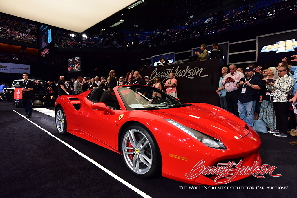 LOT #657 - 2017 FERRARI 488 SPIDER - $434,500 (Top sale of the auction and the first ever to be sold at auction)