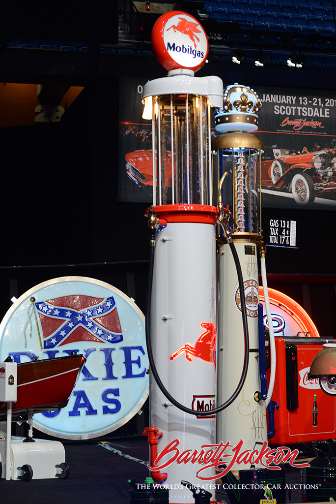 Among the top-selling automobilia today was a stunning 1920s Tokheim visible gas pump restored and customized in Mobilgas regalia by McLaren Classic Restorations (Lot #7386.1), which brought in $21,850.