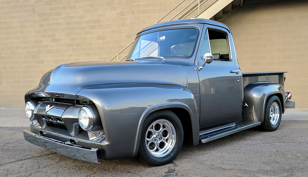 This 1954 Ford F-100 Custom Pickup on the docket for the Las Vegas Auction may look old, but sure won't be holding up traffic with its 5.7-liter GM crate engine and other Resto-Mod touches.