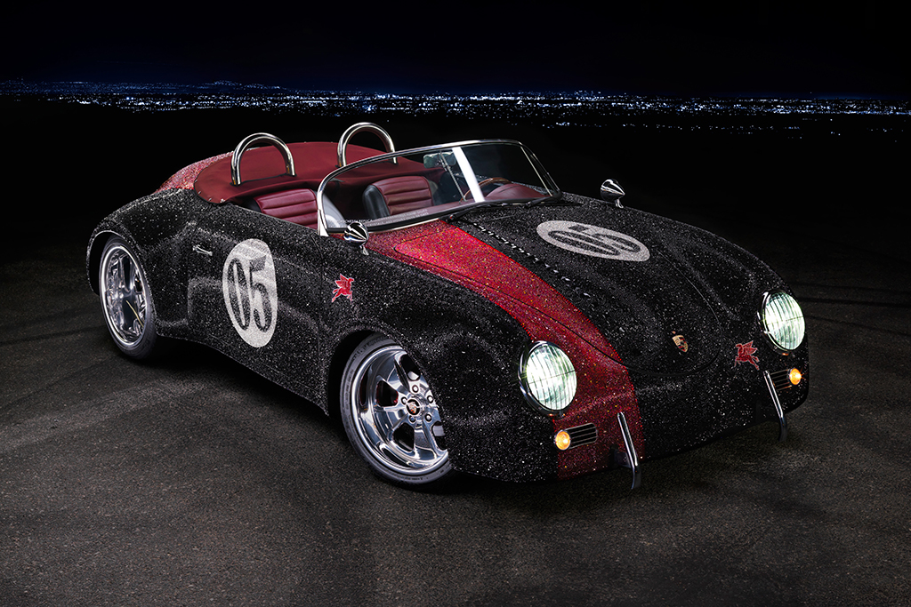 This 1956 Porsche Speedster Outlaw Re-creation (Lot #636) is covered with over 247,000 individually hand-applied Swarovski crystals.