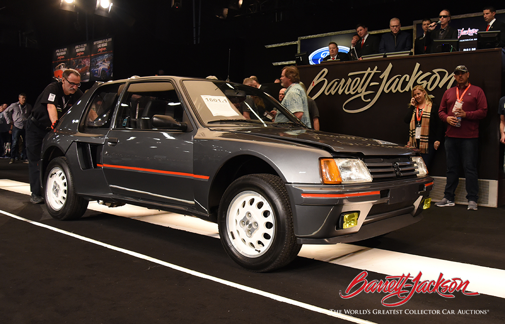 Sunday's top sale: a 1984 Peugeot 205 T16 Rally Prototype (Lot #1601.1), which sold for $187,000.