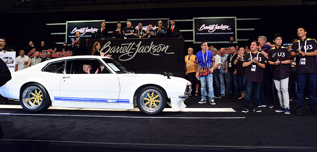 A 1972 Ford Maverick Custom Coupe (Lot #3005) crossed the block at the 2017 Las Vegas Auction, generating $95,000 in scholarship money for the SEMA Foundation.