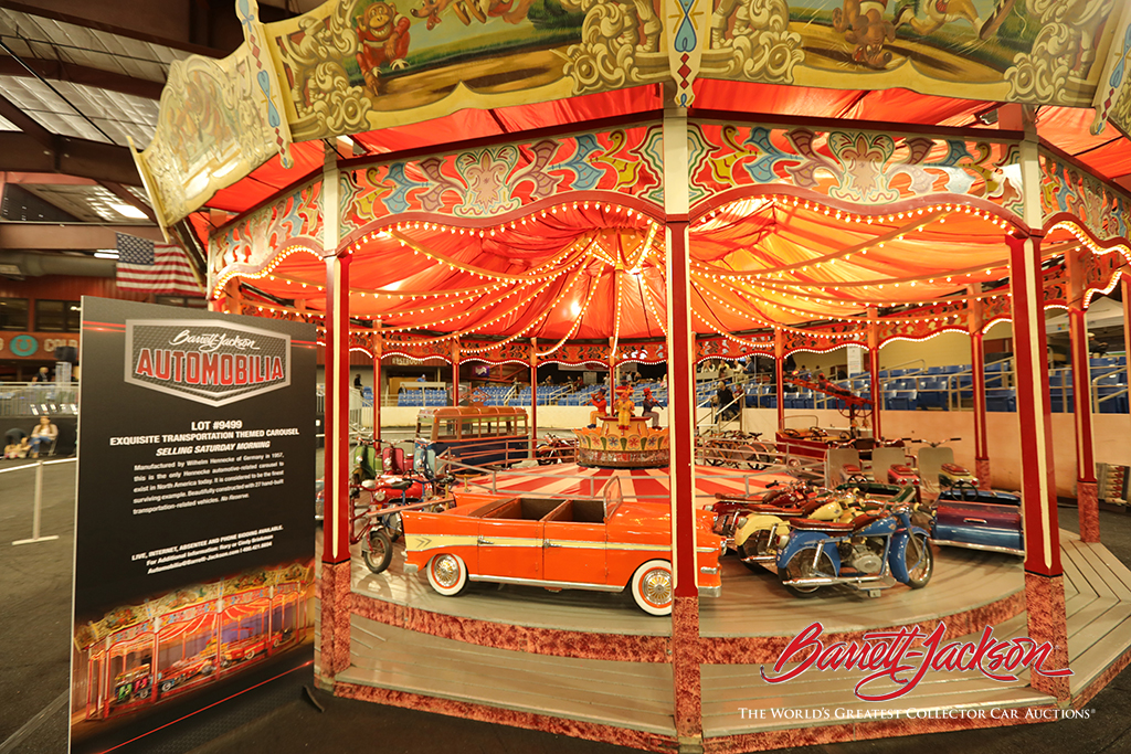 Lot #9499 - Exquisite full-size transportation-themed carousel manufactured by Wilhelm Hennecke of Germany in 1957 - $557,750