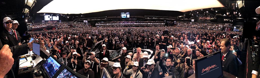 Barrett-Jackson Chairman and CEO Craig Jackson snapped this panoramic view from the block of the auction arena when former President George W. Bush came to the stage at the 2018 Scottsdale Auction.
