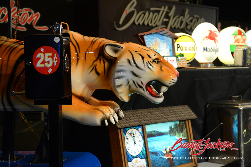 "In the 1960s, Esso urged consumers to ""Put a Tiger in Your Tank,"" and this museum-quality coin-operated kiddie ride (Lot #6288) was a great reminder of their slogan."