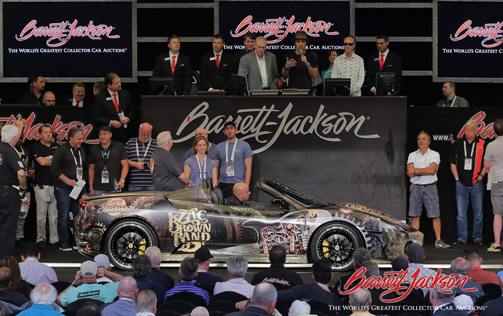 With its former owner, Jimmy De Martini of the Zac Brown Band looking on, this 2006 Ferrari F430 Spider (Lot #3000) sold for $250,000 - all of which will go to Camp Southern Ground.