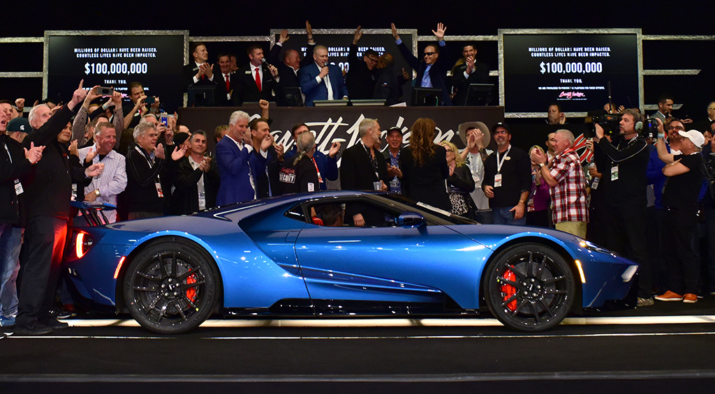 A Liquid Blue 2017 Ford GT sold for $2.5 million to benefit the Autism Society of North Carolina's IGNITE Program.