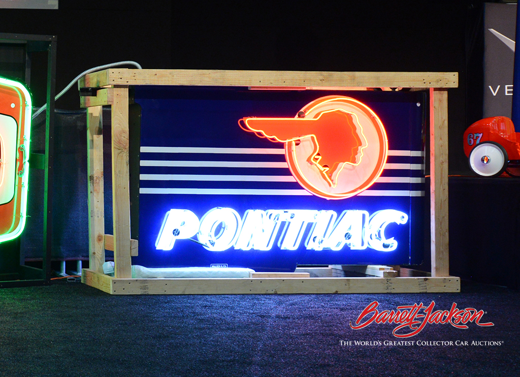 Resplendent with its Pontiac Chieftain logo, this stunning 1940s-50s double-sided neon dealership sign (Lot #6395.1) went to its new home for $25,875.