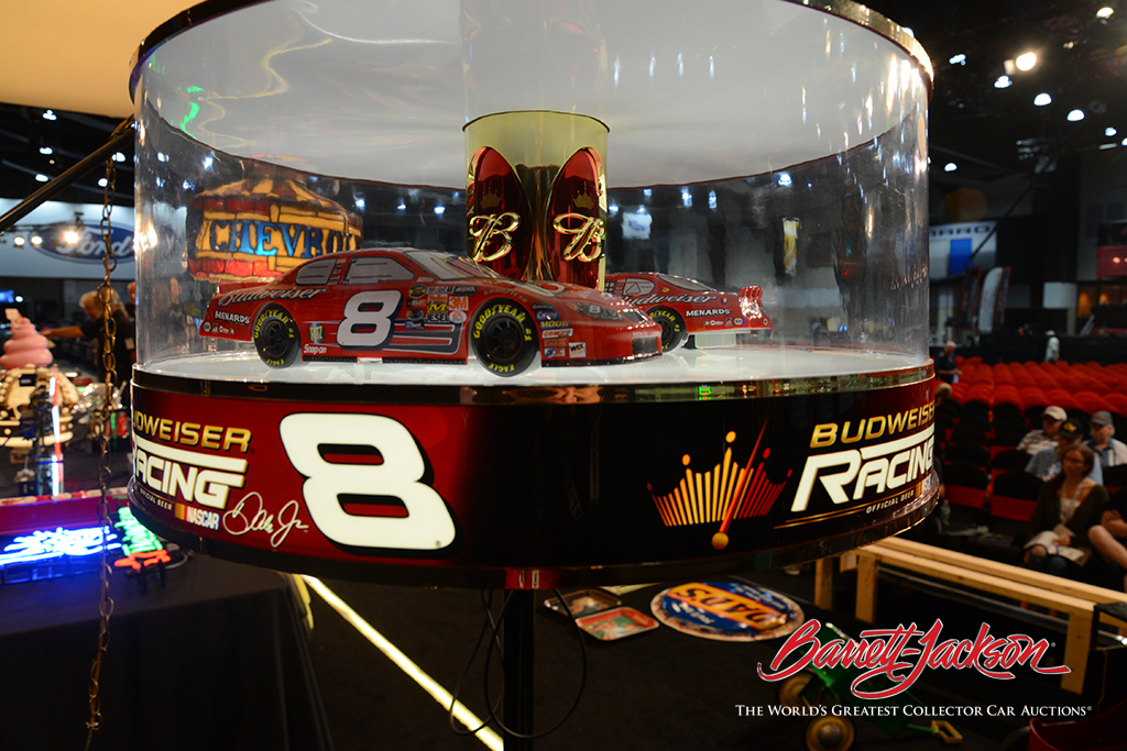 This unusual, limited-edition Budweiser Dale Earnhardt Jr. NASCAR #8 light-up rotating carousel tavern light (Lot #6455) was among the highlights of today's Automobilia Auction.