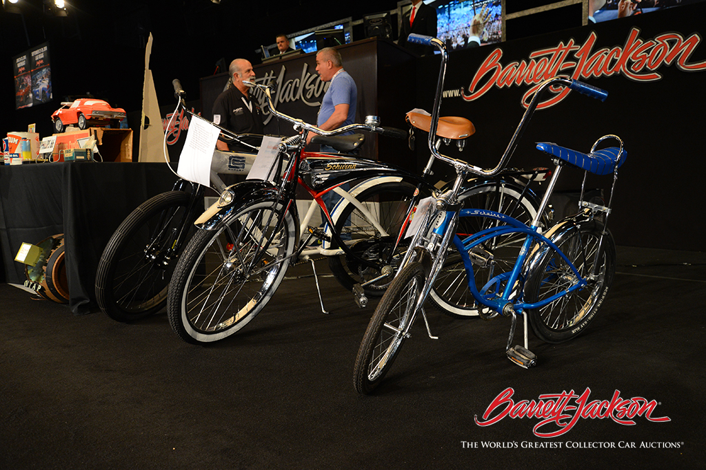 A number of vintage bicycles took to the automobilia stage today, with a never-ridden limited-edition Carroll Shelby GT350 cruiser (Lot #6478.4) bringing top honors in that category.
