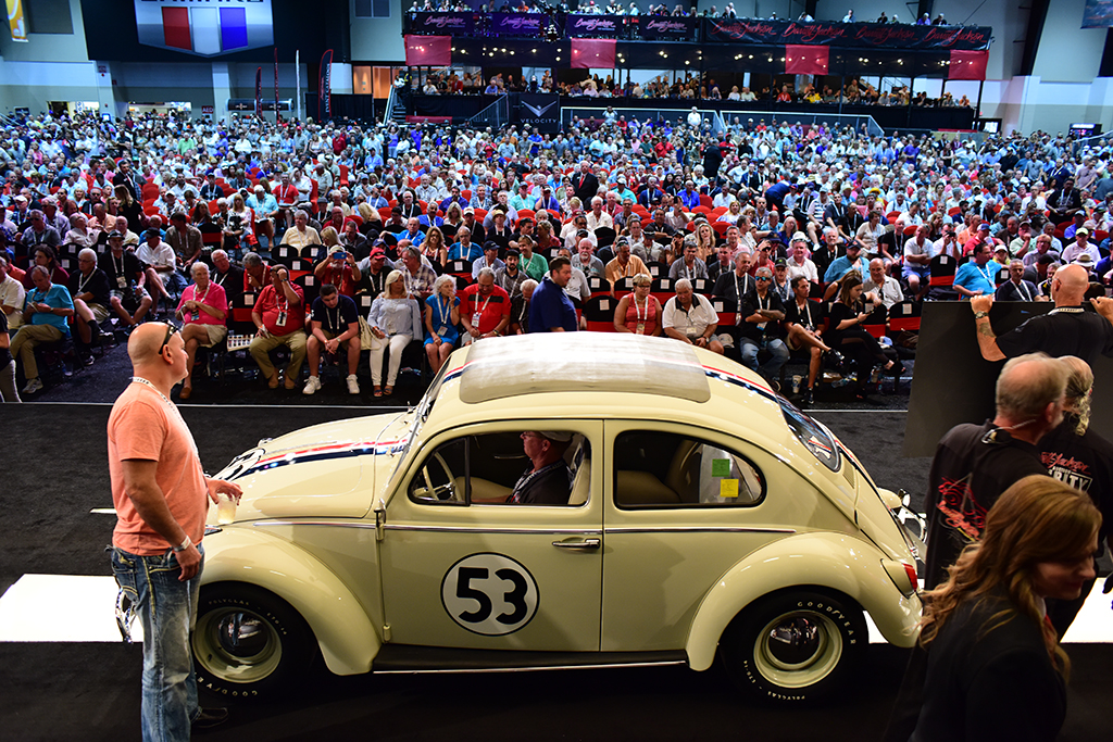 Herbie the Love Bug motored across the Barrett-Jackson auction block in Palm Beach, selling for $128,700 - making it the highest-priced 1963 Beetle ever to sell at auction and beating the previous record it set at the 2015 Palm Beach Auction.